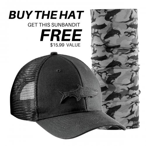 Tarpon Shadow Trucker Hat Black H1783 + FREE Tarpon Camo Sunbandit SB1618