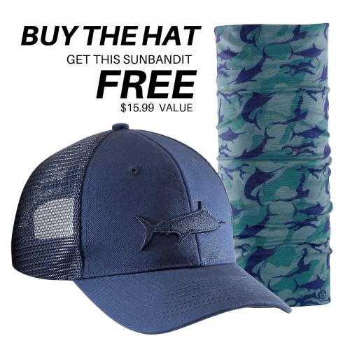 Marlin Shadow Trucker Hat Navy H1785 + FREE Marlin Camo Sunbandit SB1615