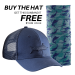 Marlin Shadow Trucker Hat Navy H1785 + FREE Marlin Camo Sunbandit SB1615
