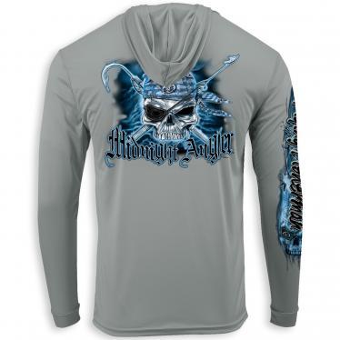Pirate Skull Performance Hood Gray TL1417G